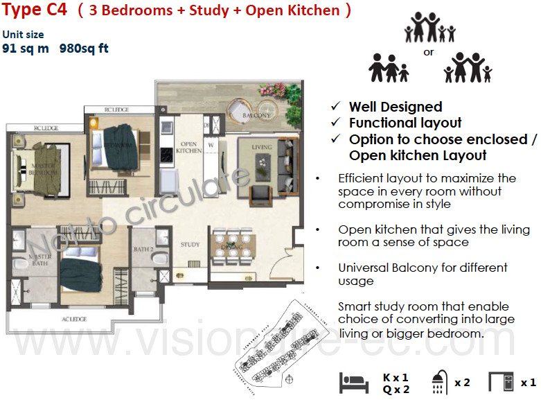 The Visionaire Floor Plan :: 3 Bedrooms + Study