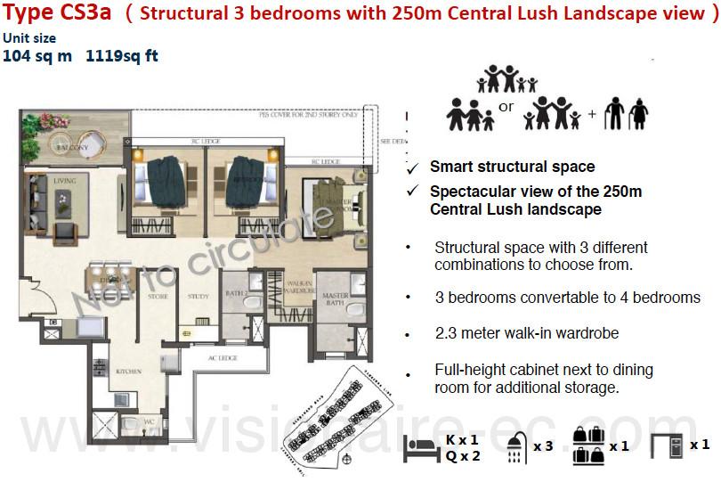 The Visionaire EC Floor Plans :: 3 Bedroom CoSpace