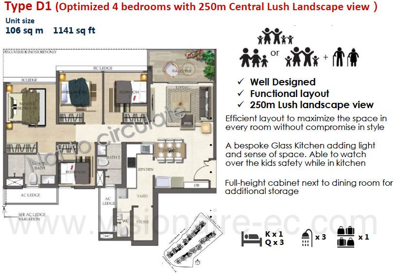 The Visionaire EC Floor Plan :: 4 Bedrooms